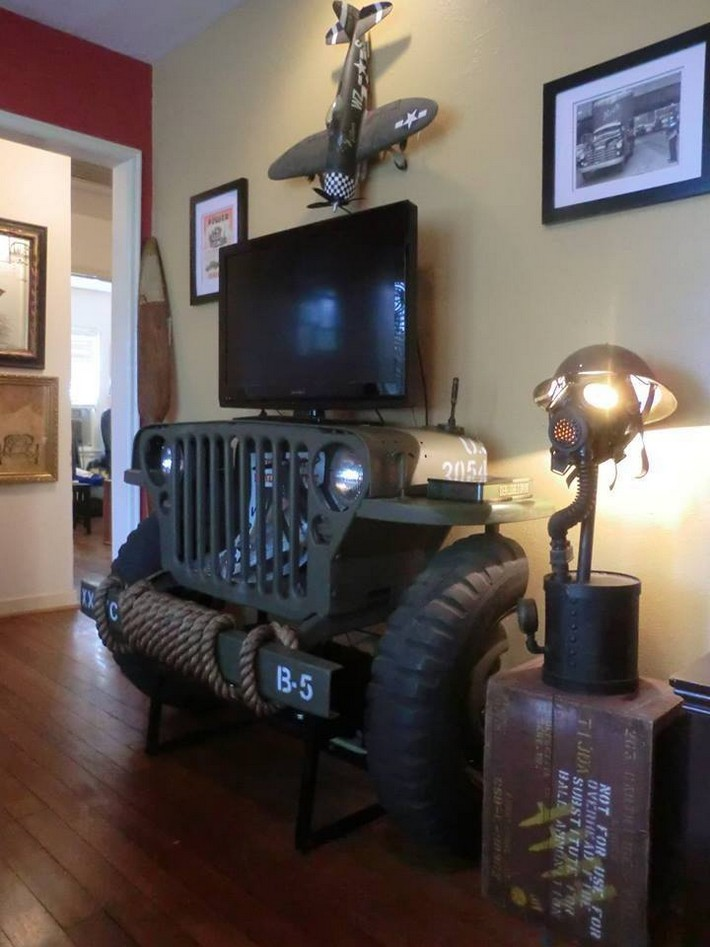 recycled automobile tv stand