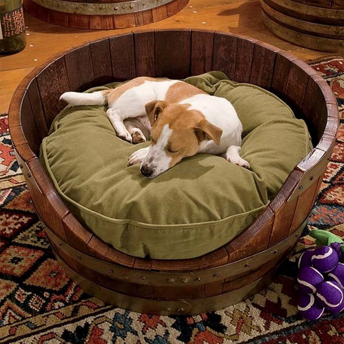 recycled barrel-dog-house