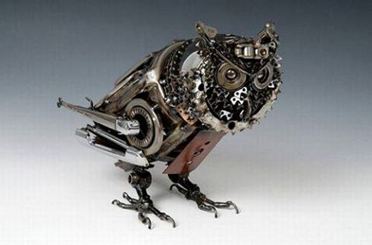 recycled bicycle parts owl