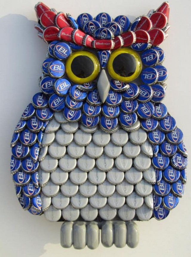 recycled bottle caps owl