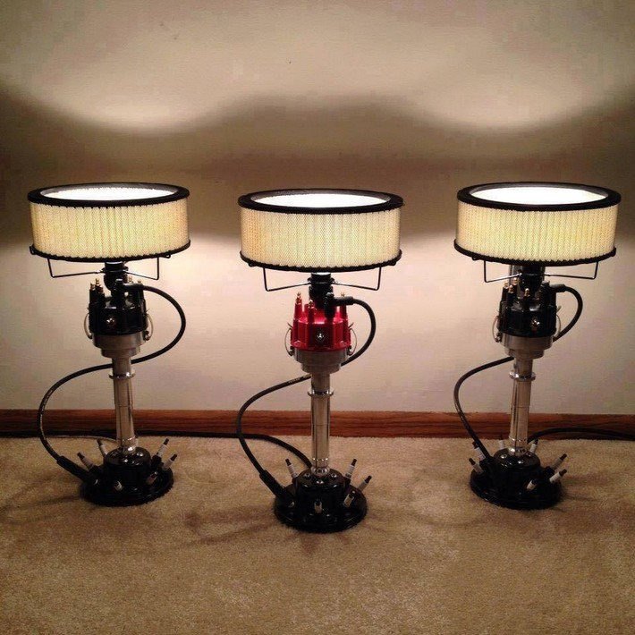 recycled car parts chandeliers