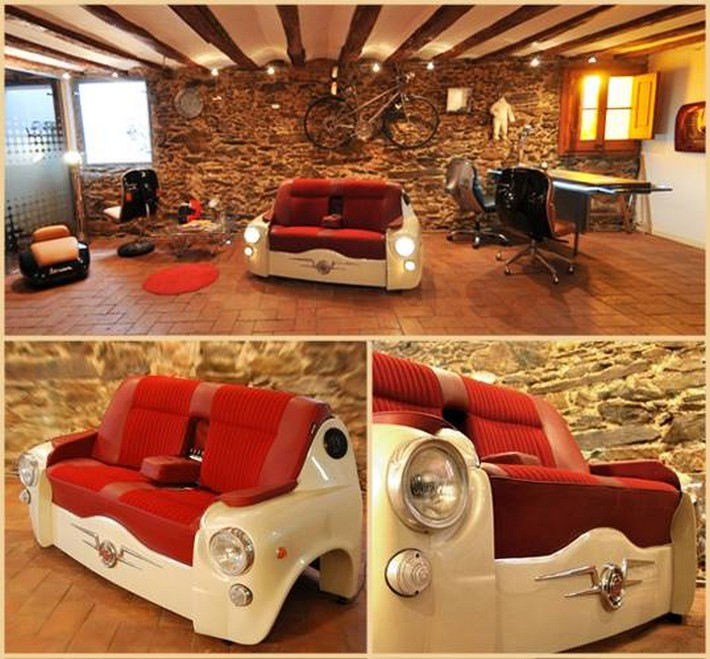recycled car seats couch