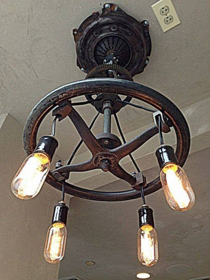 recycled industrial chandelier