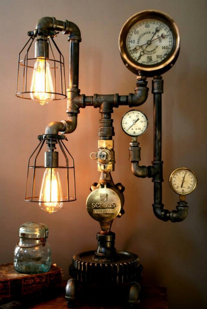 recycled industrial lamp art
