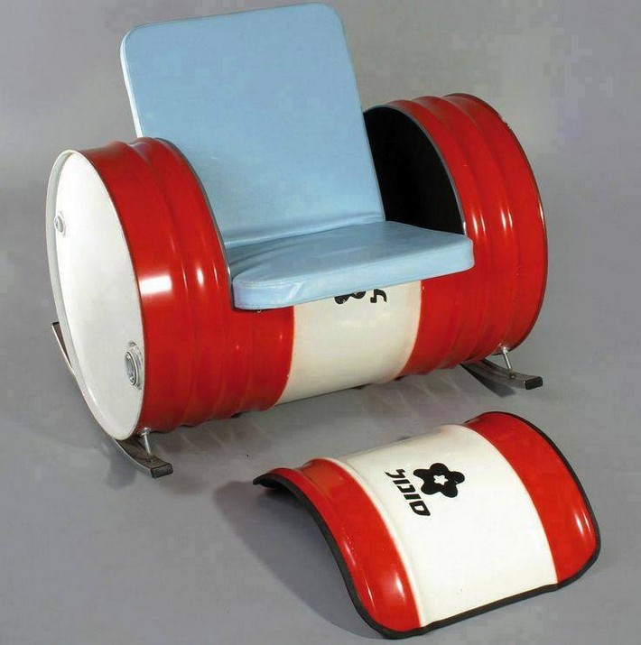 recycled metal drum seating idea