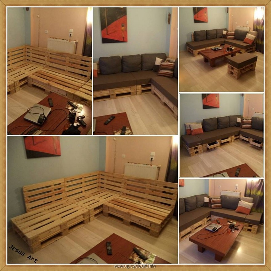 Inspiriting pallet reusing ideas upcycle art for Pallet living room couch