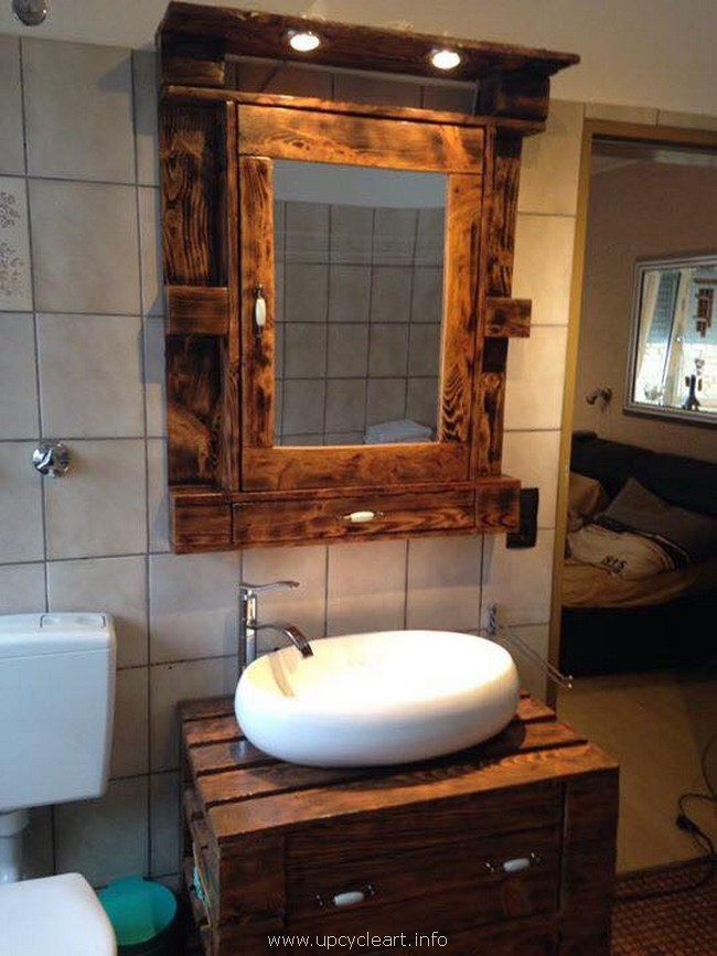 recycled pallet sink with mirror
