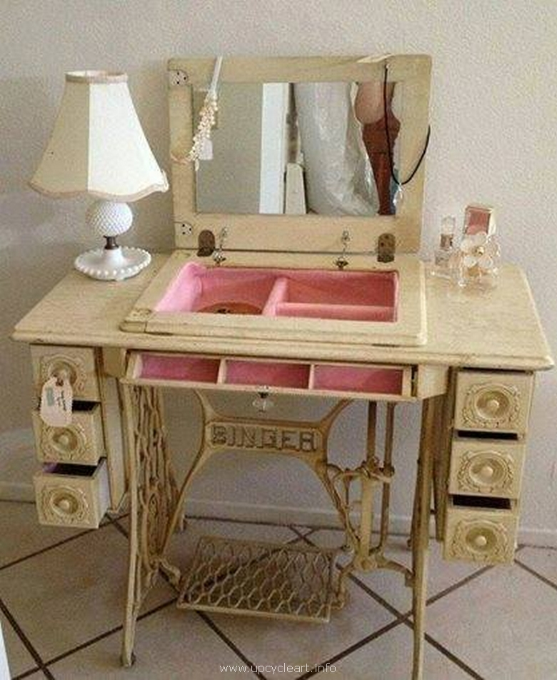 recycled pallet with sewing machine vanity