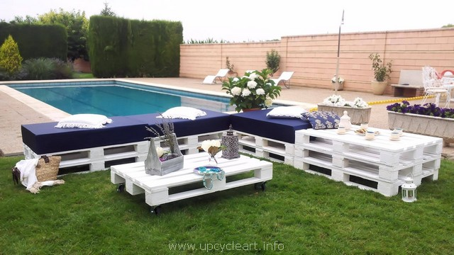 recycled pool side pallet furniture