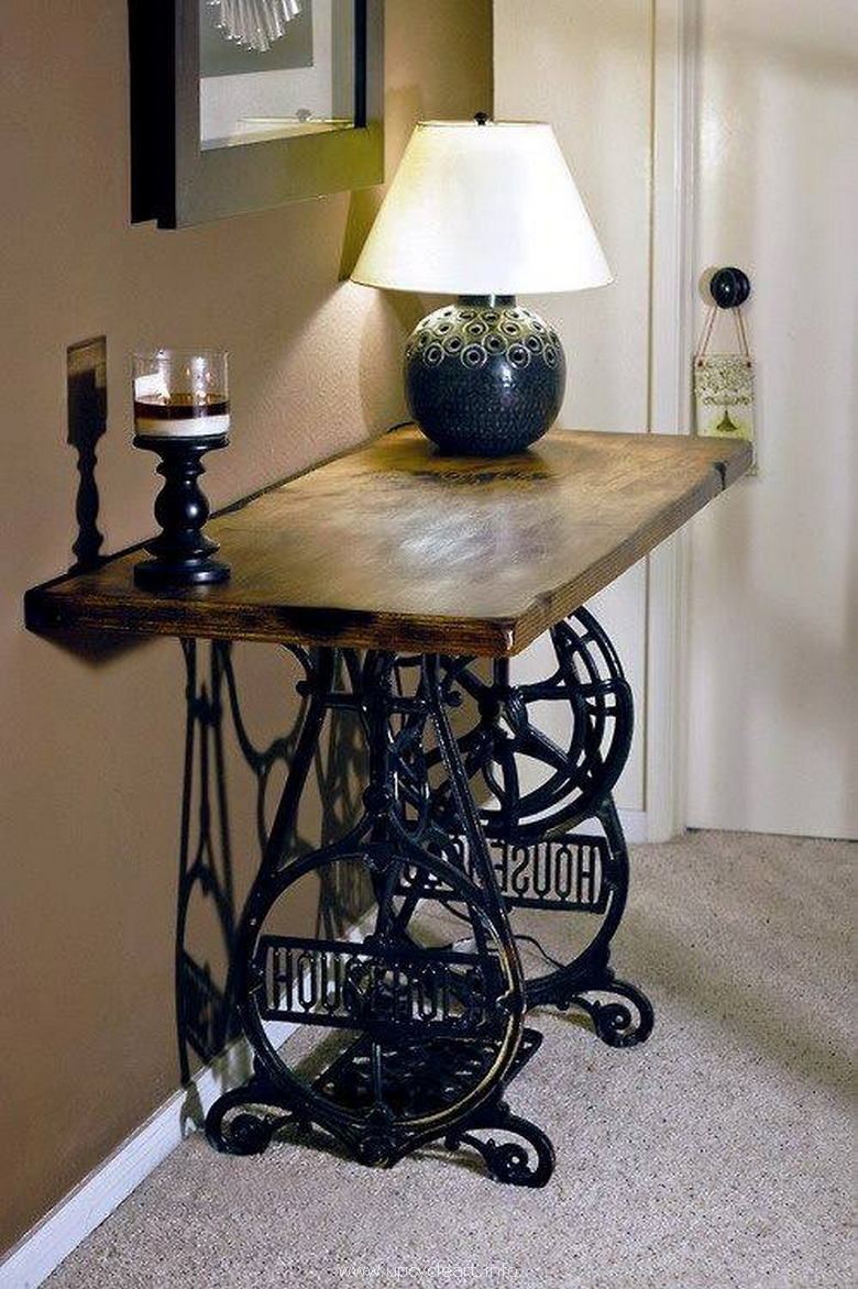 recycled sewing machine side table projects