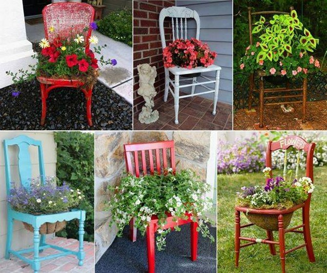 recycled used chairs planters