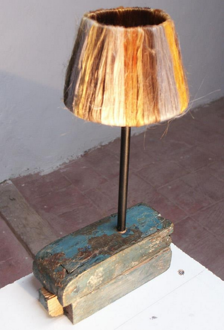 recycled wooden lamp