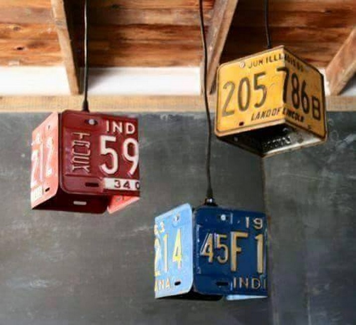 reused number plates chandeliers