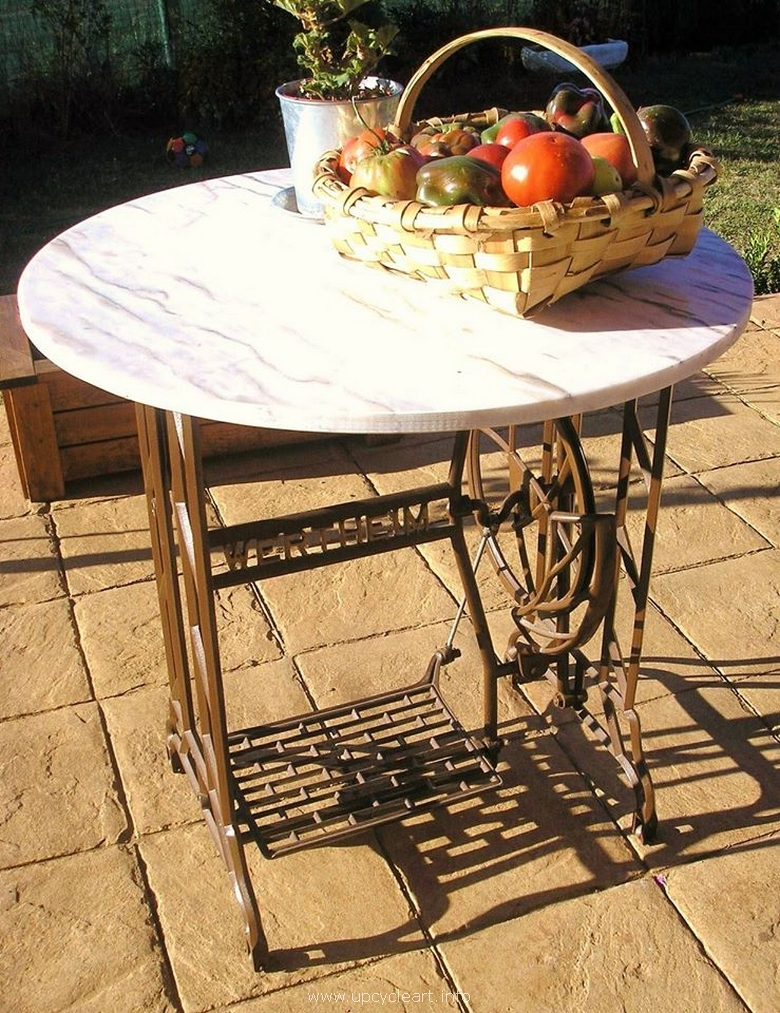 reused sewing machine patio table