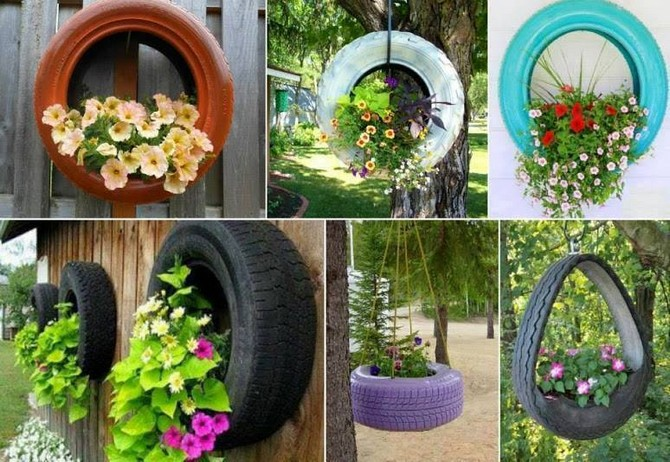 reused tires hanging planters