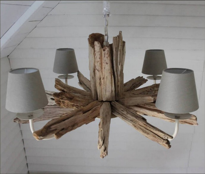 round driftwood four light chandelier