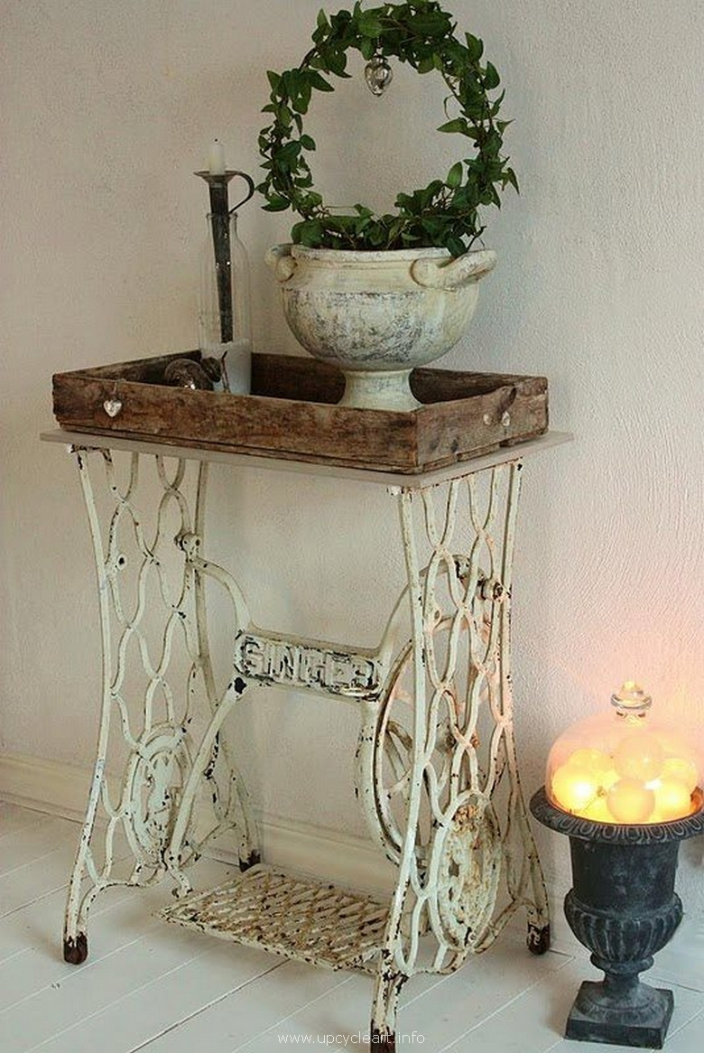sewing machine reclaimed side table