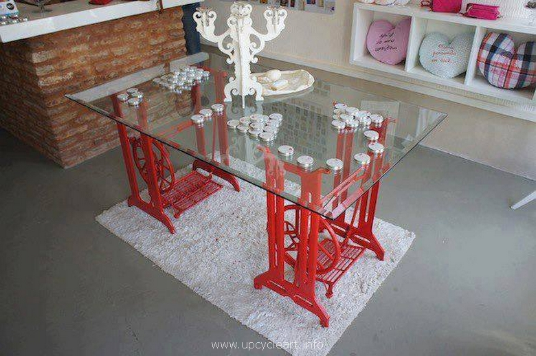 sewing machine recycled table plan
