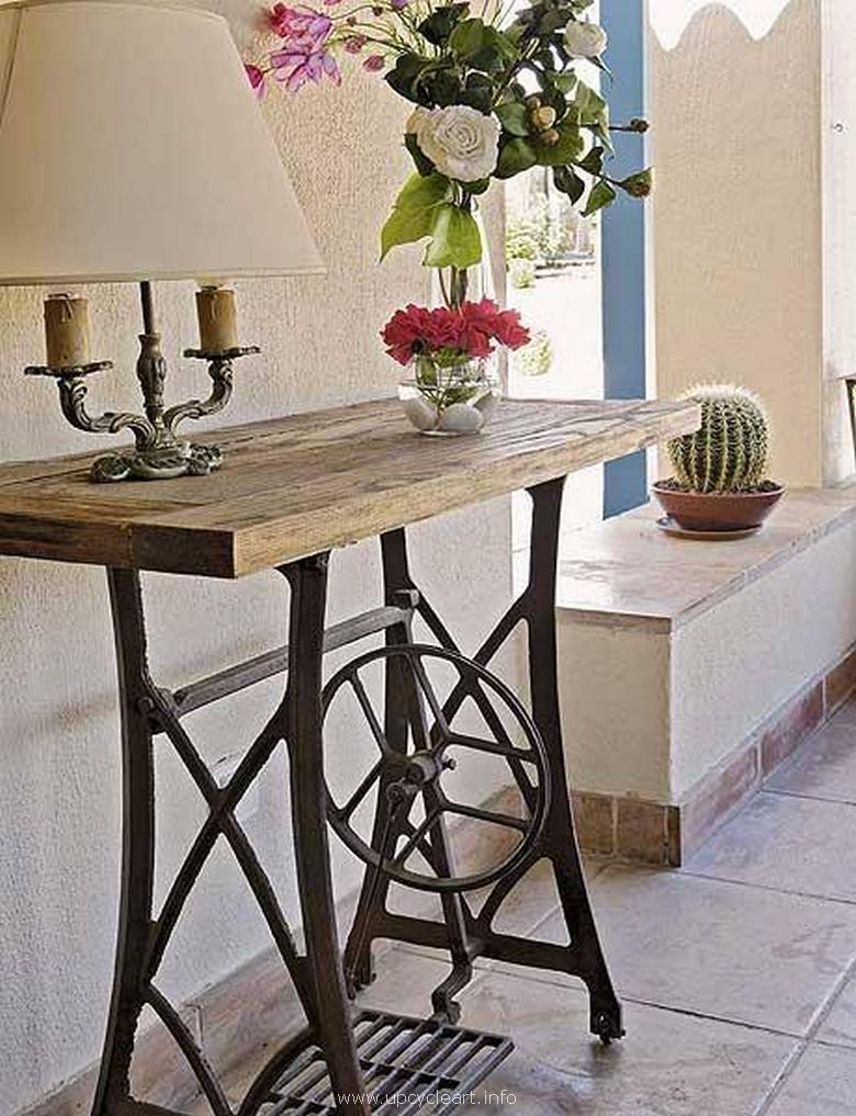 sewing machine repurposed side table