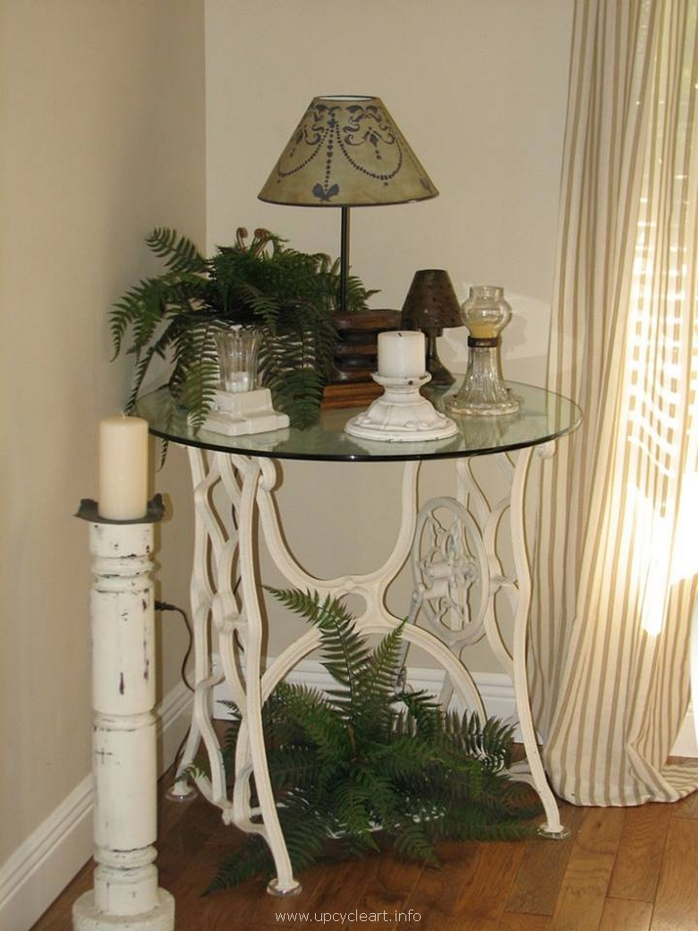 side table created with sewing machine