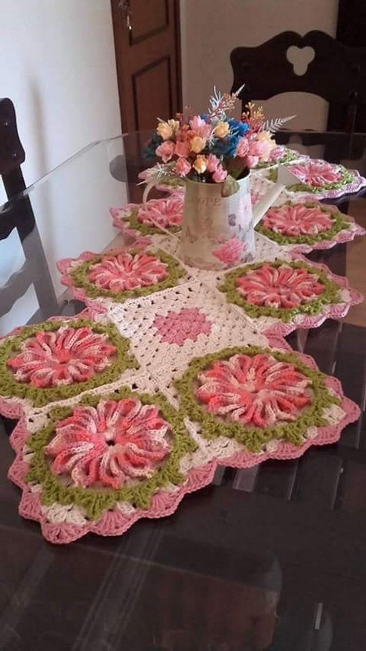 table decor with crochet