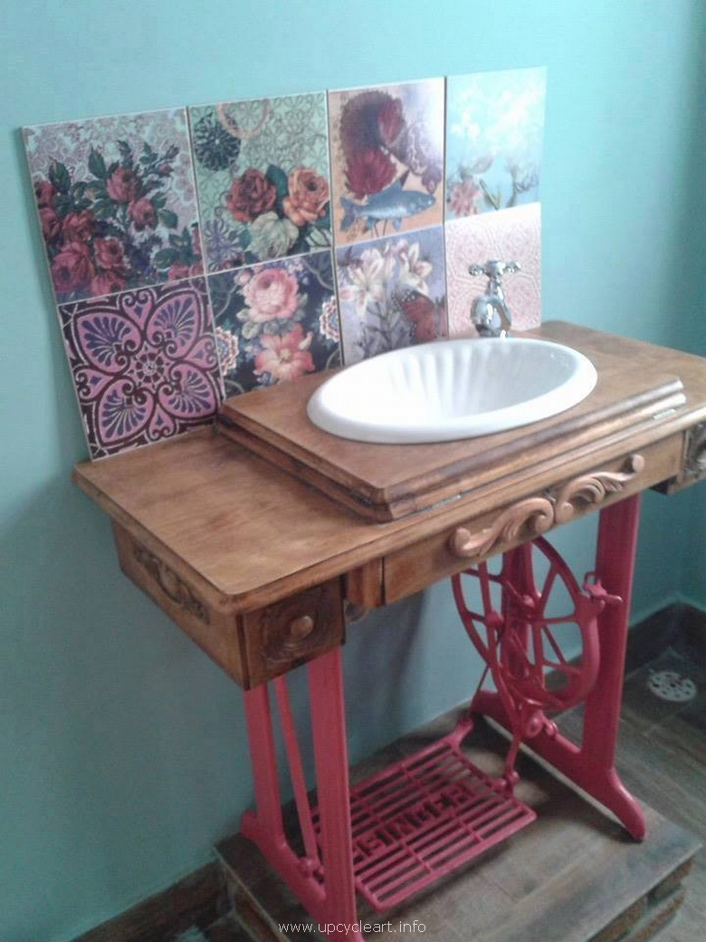 upcycled sewing machine sink