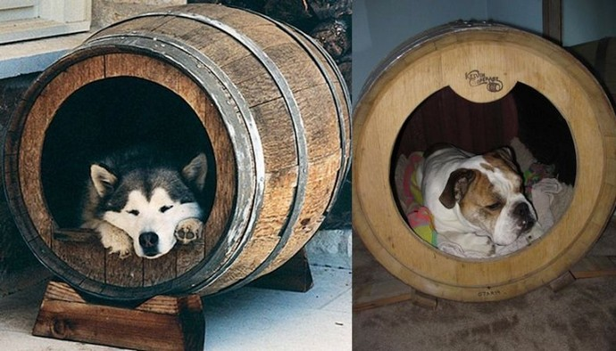 upcycled wood barrel dog beds