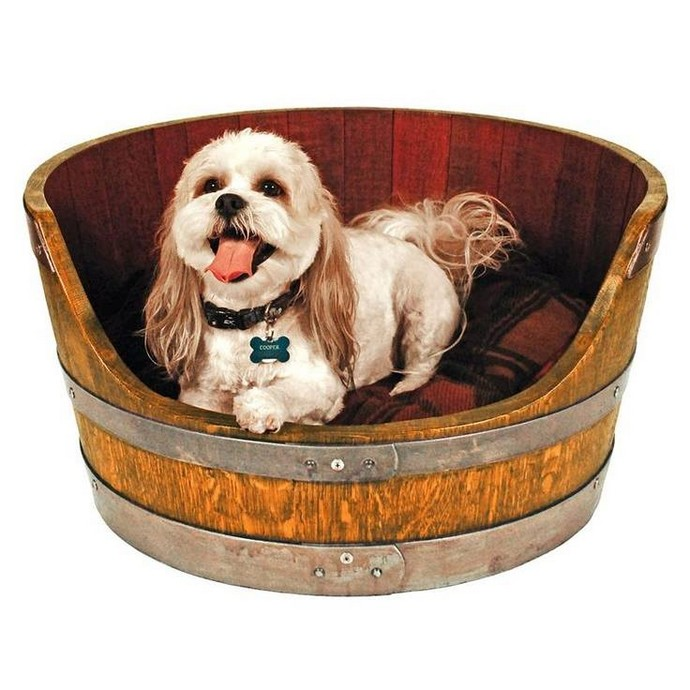 upcycled wood barrel dog house