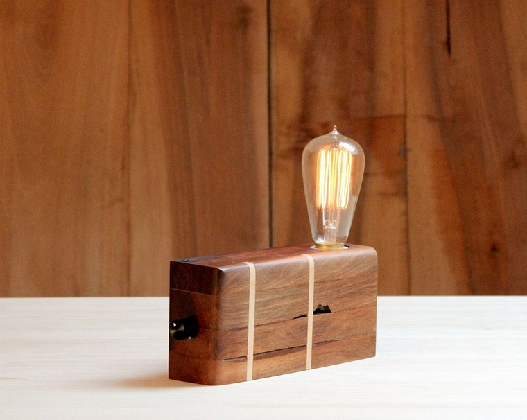 upcycled wood lamp