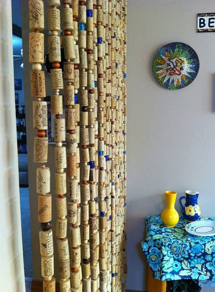wine corks curtain with decor
