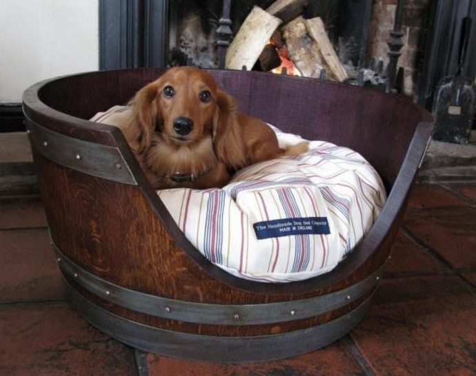 wood barrel dog bed