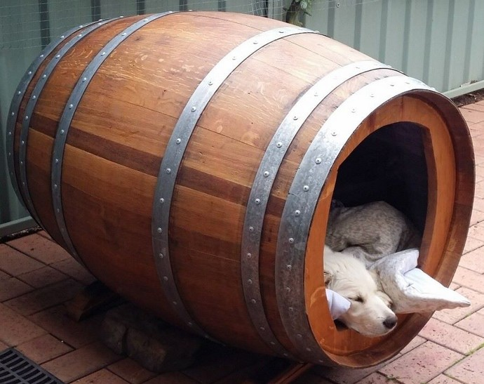 wood barrel dog house