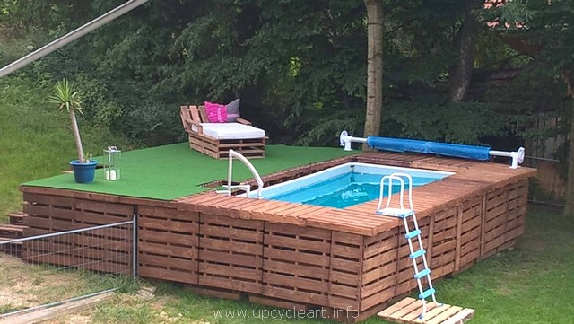 wooden pallet pool deck