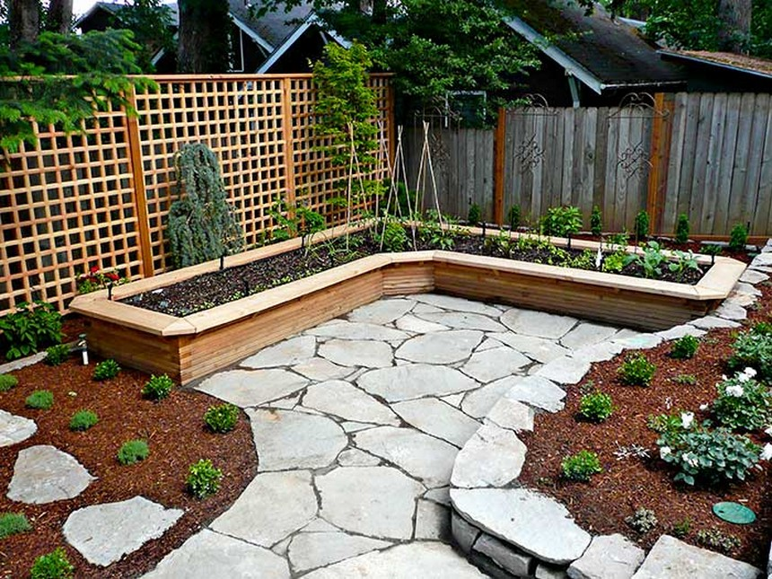L-shaped vegetable raised bed