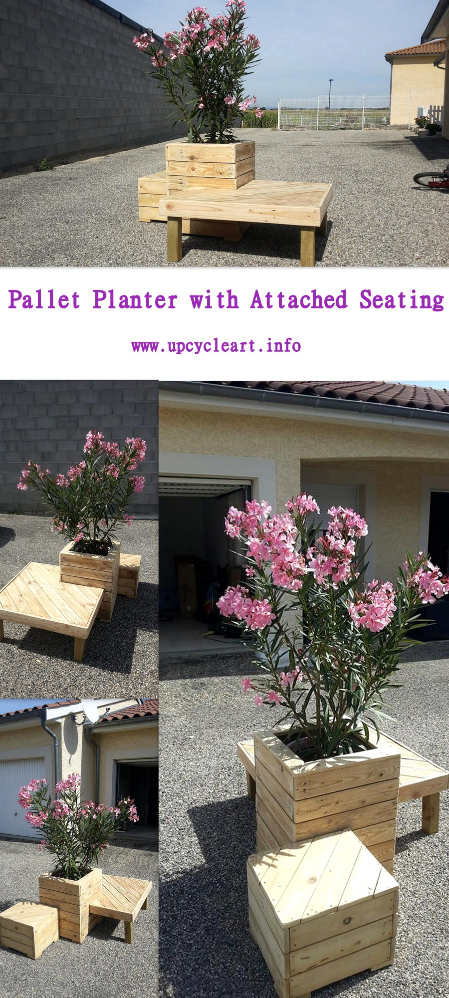 Pallet Planter with Attached Seating