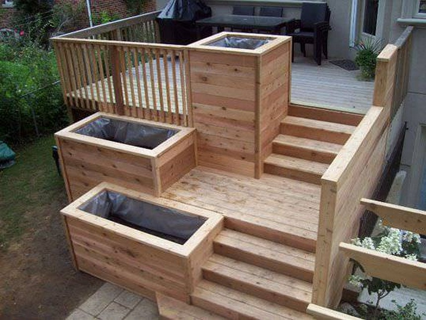 cute raised garden bed plan with stairs