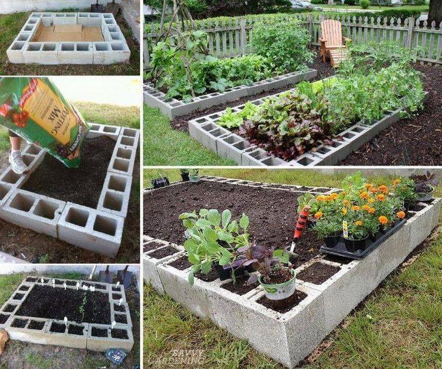 diy concrete raised garden bed