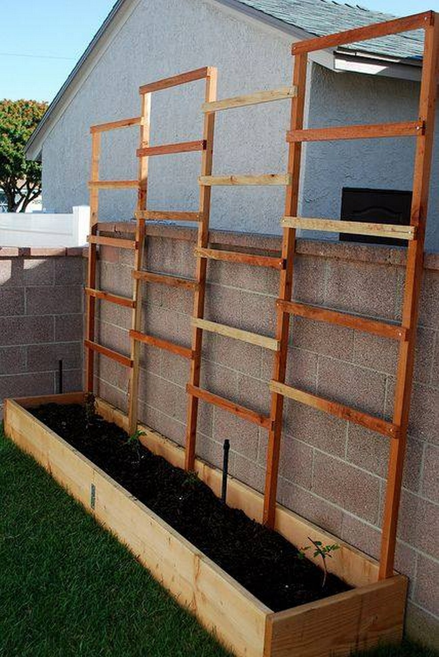 raised garden bed attached to wall