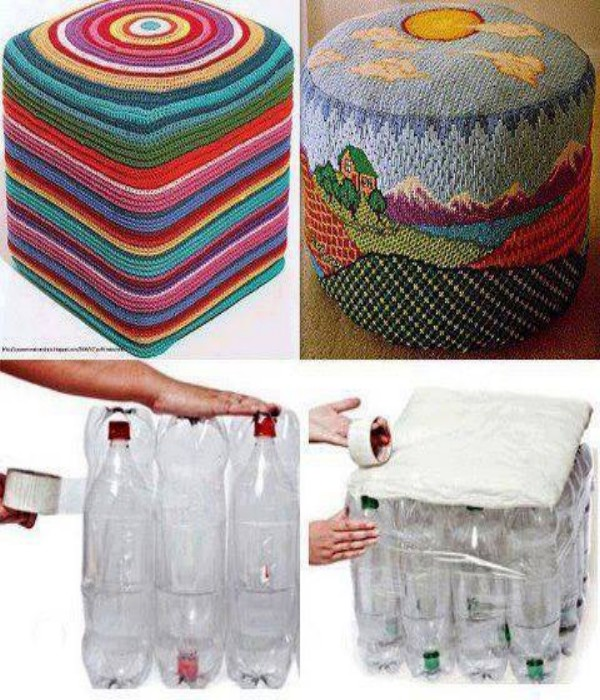 Plastic Bottles Recycled To Sitting Puff Upcycle Art
