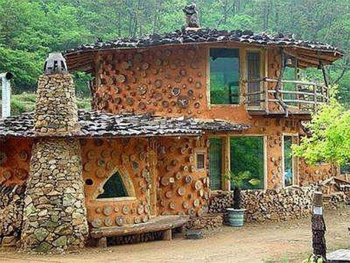 Cordwood construction art upcycle art for House building contractors