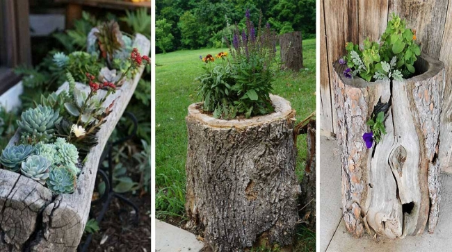 Garden decor planters with logs upcycle art - Maceteros madera exterior ...