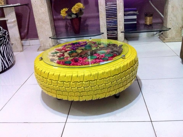 Coffee Tables Made with Recycled Tires | Upcycle Art