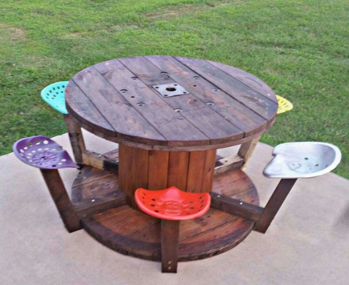 Cable spool recycled upcycle art for Wooden cable reel ideas