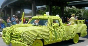 Tennis Ball Decorated Car