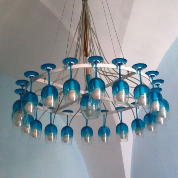 Wine Glass Chandelier Ideas Upcycle Art