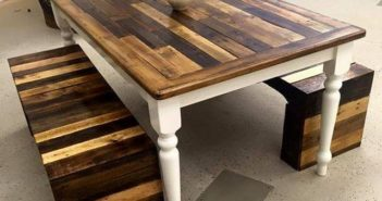 Wood pallet table top and benches