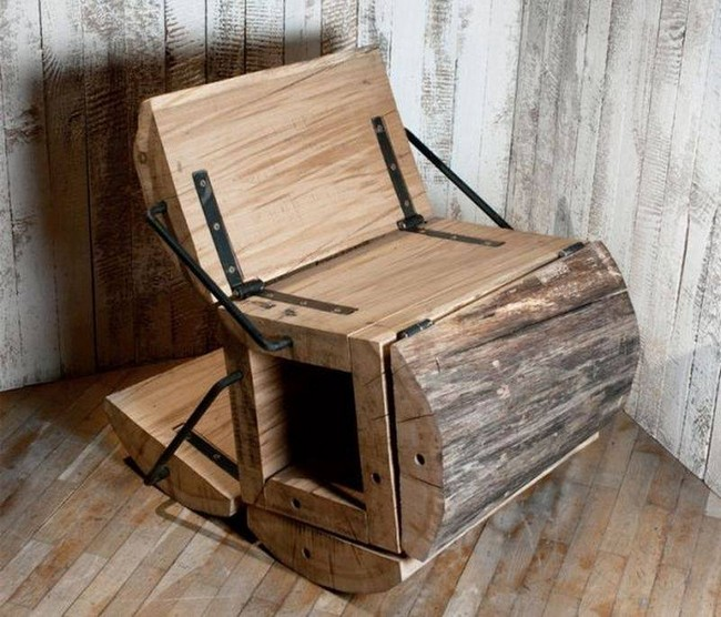 Architectural Wooden Folding Chair Upcycle Art